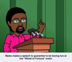 Another bitstrip pic: Myles makes a great speech by mylesterlucky7
