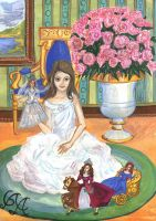 Little girl with dolls by Alexandra-Glazer