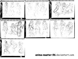 1000 Gesture Drawing Challenge - 201 to 220 by anime-master-96