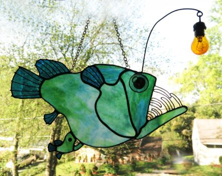 Stained Glass Anglerfish with attached Male by trilobiteglassworks