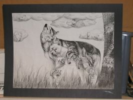 Wolf-Pen and ink drawing by celestialneko0701
