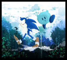 :Art Trade: Sonic and Kirby by sapphii