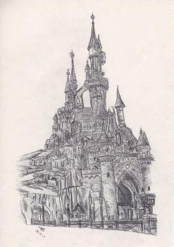 Disneyland Paris: Castle Drawing by TomBromley