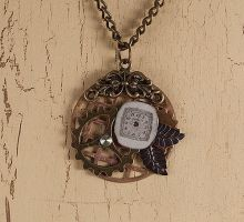 Steampunky collage necklace by skuggsida