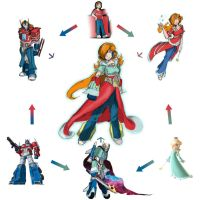 Optimus Prime + Annie + Rosalina Hexafusion by locomotive111