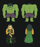 Hulk and Loki Plush Designs by SMachajewski