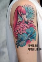 flamingo tattoo by mojoncio