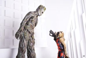 Groot and Rocket Raccoon by niamash