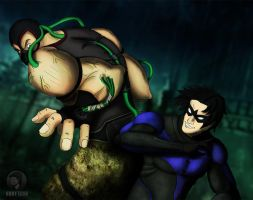 Bane Vs. Nightwing by KurtLeon