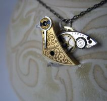 Clockwork Pendant 'Urban Bird' by AMechanicalMind