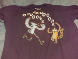 my first regular shoe shirt mordecai and rigby :3 by becaveach21
