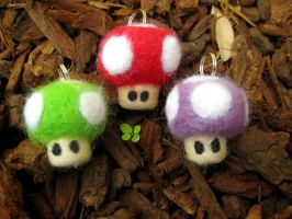 Needle Felted Mario Mushrooms by P-isfor-Plushes