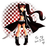 Aki cosplays Black Rock Shooter (red version) by Kehmy