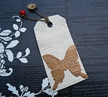 White Butterfly Music Leather Mini Bookmark by random-wish