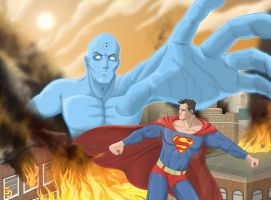Dr Manhattan VS Superman by gran-jefe