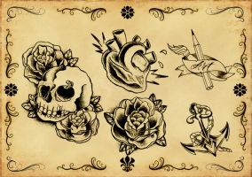 Tattoo flash 5 by xfreakcorex
