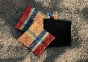 Denim and remnant quilted coasters by Clobber-Creations