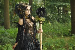 Stock - Faun Shaman Portrait Fantasy Female Dark 2 by S-T-A-R-gazer