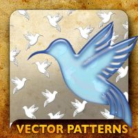 Vector Patterns. Blue Bird by paradox-cafe