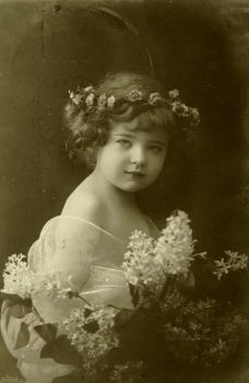 Vintage little girl with flowers 003 by MementoMori-stock
