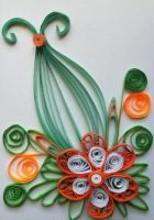 Quilling-orange-flower-card by boliarka