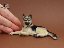 Miniature German Shepherd Sculpture by Pajutee