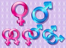 Tutorial: Binary Gender and Orientation Icons by marywinkler