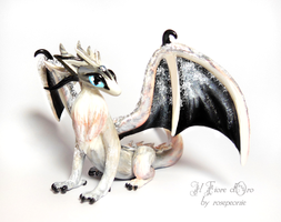 White and silver Wolf Dragon by rosepeonie