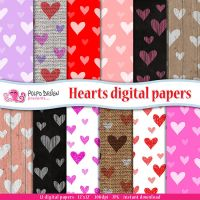 Hearts digital papers by PolpoDesign