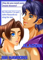 Aladdin and Jim Hawkins by kaz320