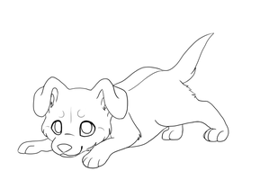 Puppy Lineart by KatsaKitty