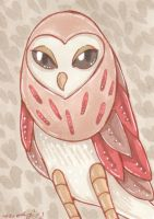 ACEO Barn Owl by nickyflamingo