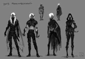 Concept, Drow elf by sagasketchbook