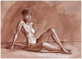 Thea Color Ink study on tan paper by rawjawbone