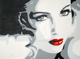 Lady with red lips pop art by xingella
