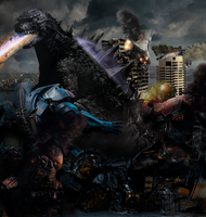 Godzilla vs the Jeagers- Apocalypse goes on! by ThrillerzillaArt