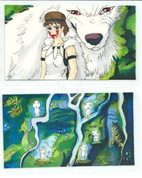 Princess Mononoke bookmarks by Clairvoyantartistry