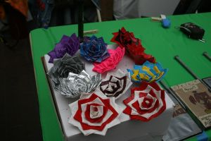 Duct tape rose display by theshyfox