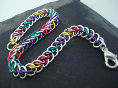 Rainbow Chainmail Bracelet by MariMermaid