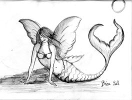 Mermaid with wings 2 by Purplepies