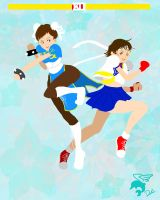 ChunLi and Sakura  FIGHT by dollphinwing