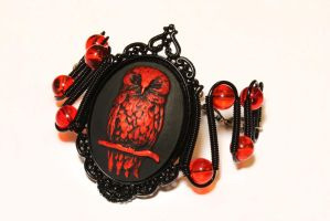 Goth Bracelet - Red Owl by CatherinetteRings