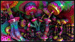 Psychedelic Mushrooms by eccoarts