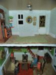 Retro Dollhouse WIP: Living room and Upstairs by kayanah