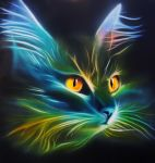 Airbrush cat on wood, acrylic inks by Airgone