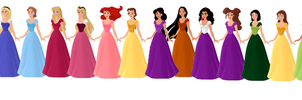 Modern Disney Princess Lineup by supereilonwypevensie