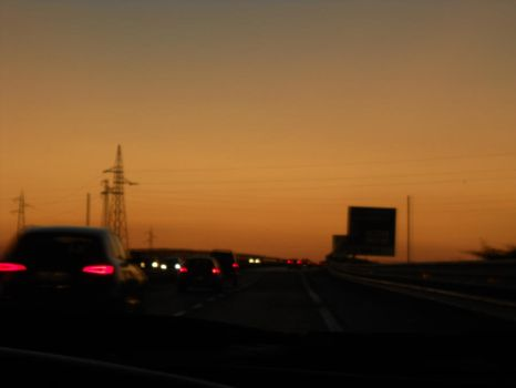 the Highway and the sunset by Sea-Sound