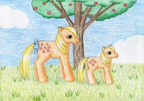 Applejack and Baby Applejack by NormaLeeInsane