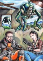 Half-Life 2 - Gordon, Alyx and Hunters by Tadeu-Costa