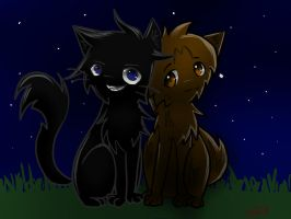 Leafpool and Crowfeather by Applemist